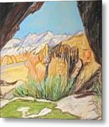 Desert View From The Cave Metal Print by Esther Newman-Cohen
