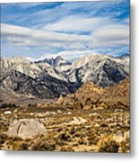 Desert View Of Majestic Mount Whitney Mountain Peaks With Clouds Metal Print
