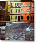 Deserted Street With Colored Houses In Parma Italy Metal Print