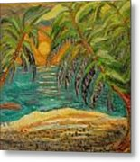 Deserted Tropical Sunset Metal Print