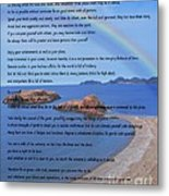 Desiderata On Beach Scene With Rainbow Metal Print