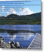 Desiderata On Pond Scene With Mountains Metal Print