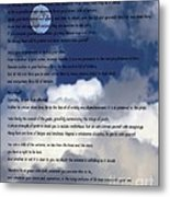 Desiderata On Sky Scene With Full Moon And Clouds Metal Print