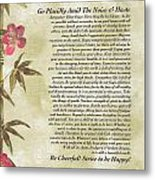 Desiderata Poem With Bamboo And Butterflies Metal Print