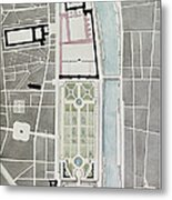 Design For Joining The Tuileries To The Louvre, 1808 Wc On Paper Metal Print