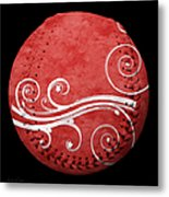 Designer Red Baseball Square Metal Print by Andee Design