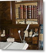Desk With Quill Pens Metal Print