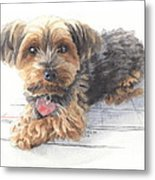 Desktop Calendar Yorky Dog Watercolor Portrait Metal Print