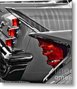 Desoto Red Tail Lights In Black And White Metal Print