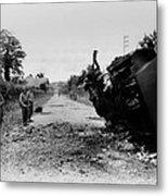 Destroyed U.s. Tank At La Metal Print