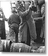 Destroying Barrels Of Beer Metal Print