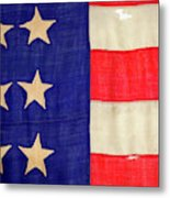 Detail Of A Civil War Flag In Drummer Metal Print