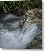 Detail Of A Small Water Fall In A Stream Metal Print