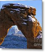 Detail Of Delicate Arch With Snow Arches National Park Utah Metal Print