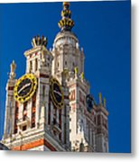 Detail Of The Main Building Of Moscow State University On Sparrow Hills Metal Print