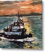 Detail Of Tugboat In Upper New York Bay  Metal Print