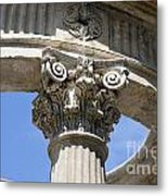 Detailed View Of Corinthian Order Column Metal Print