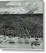 Detroit Aerial View 1889 Metal Print