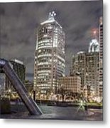 Detroit Fountain And Cityscape Metal Print