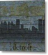 Detroit Michigan City Skyline Silhouette Distressed On Worn Peeling Wood Metal Print