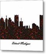 Detroit Michigan Molten Lava Skyline Metal Print