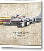 Detroit Miss P-51d Mustang - Map Background Metal Print