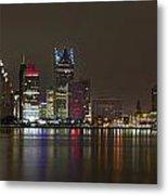 Detroit Nightime Skyline Metal Print