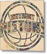 Detroit Pistons Poster Art Metal Print