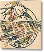 Detroit Pistons Retro Poster Metal Print