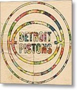 Detroit Pistons Vintage Logo Metal Print