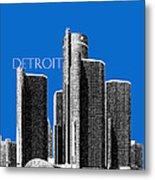 Detroit Skyline 1 - Blue Metal Print
