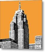 Detroit Skyline 2 - Orange Metal Print