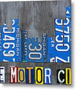 Detroit The Motor City Skyline License Plate Art On Gray Wood Boards  Metal Print