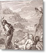 Deucalion And Pyrrha Repeople The World By Throwing Stones Behind Them Metal Print
