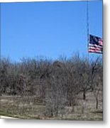 Dfw National Cemetery Flag On The Hill Metal Print