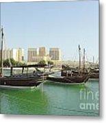 Dhows And Doha Port Buildings Metal Print