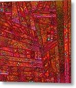 Diagonal Tiles In Reds Metal Print