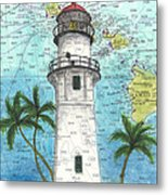 Diamond Head Lighthouse Hi Nautical Chart Map Art Metal Print