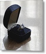 Diamond Ring On A Black Box Metal Print