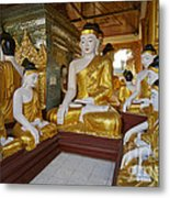 different sitting Buddhas in a circle in SHWEDAGON PAGODA Metal Print