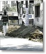 Digging A Ditch At The Side Of A Road In Roorkee Metal Print