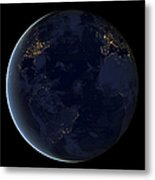 Digital Composite Of Earths City Lights Metal Print