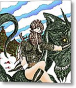 Digital Dragon Rider Colour Version Metal Print