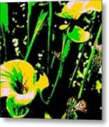 Digital Green Yellow Abstract Metal Print
