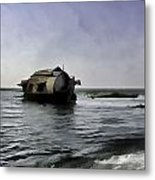 Digital Oil Painting - A Houseboat Moving Placidly Through A Coastal Lagoon Metal Print