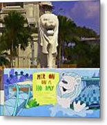 Digital Oil Painting - Statue Of The Merlion With A Banner Metal Print