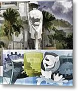 Digital Oil Painting - Statue Of The Merlion With A Banner Below The Statue And With Bu Metal Print
