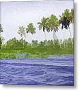 Digital Oil Painting - Water Rippling In The Coastal Lagoon Metal Print