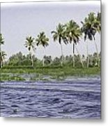 Digital Oil Painting - Water Rippling In The Coastal Lagoon Due To The Boat Metal Print
