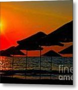 Digital Painting Of Beach Umbrellas At Sunset Metal Print